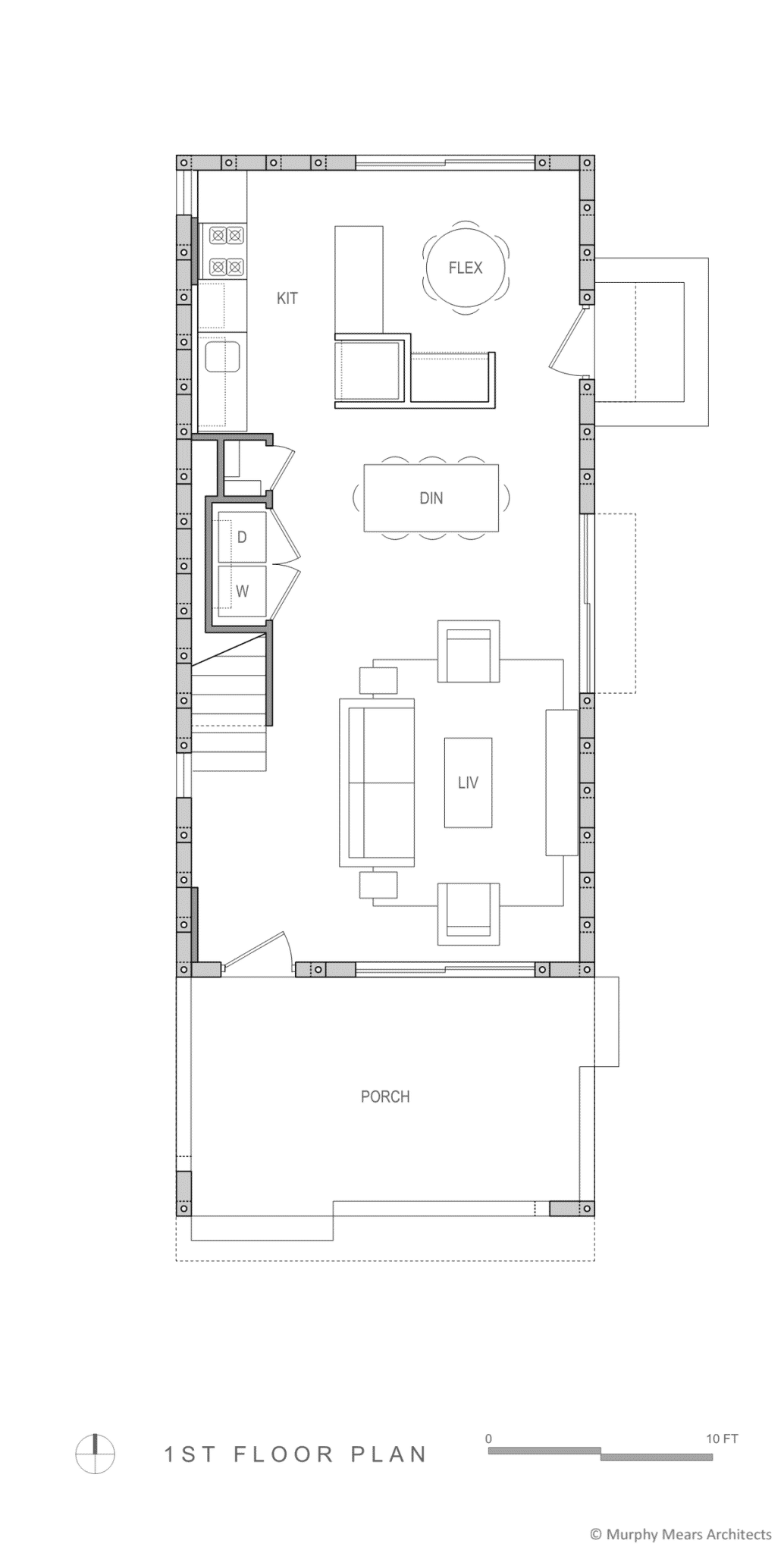 Open first floor plan within the AAC block structure.