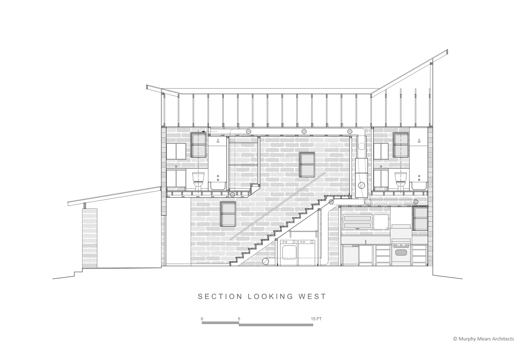 Section through stair showing efficient integration of mechanical and plumbing services on wet-wall of residence.