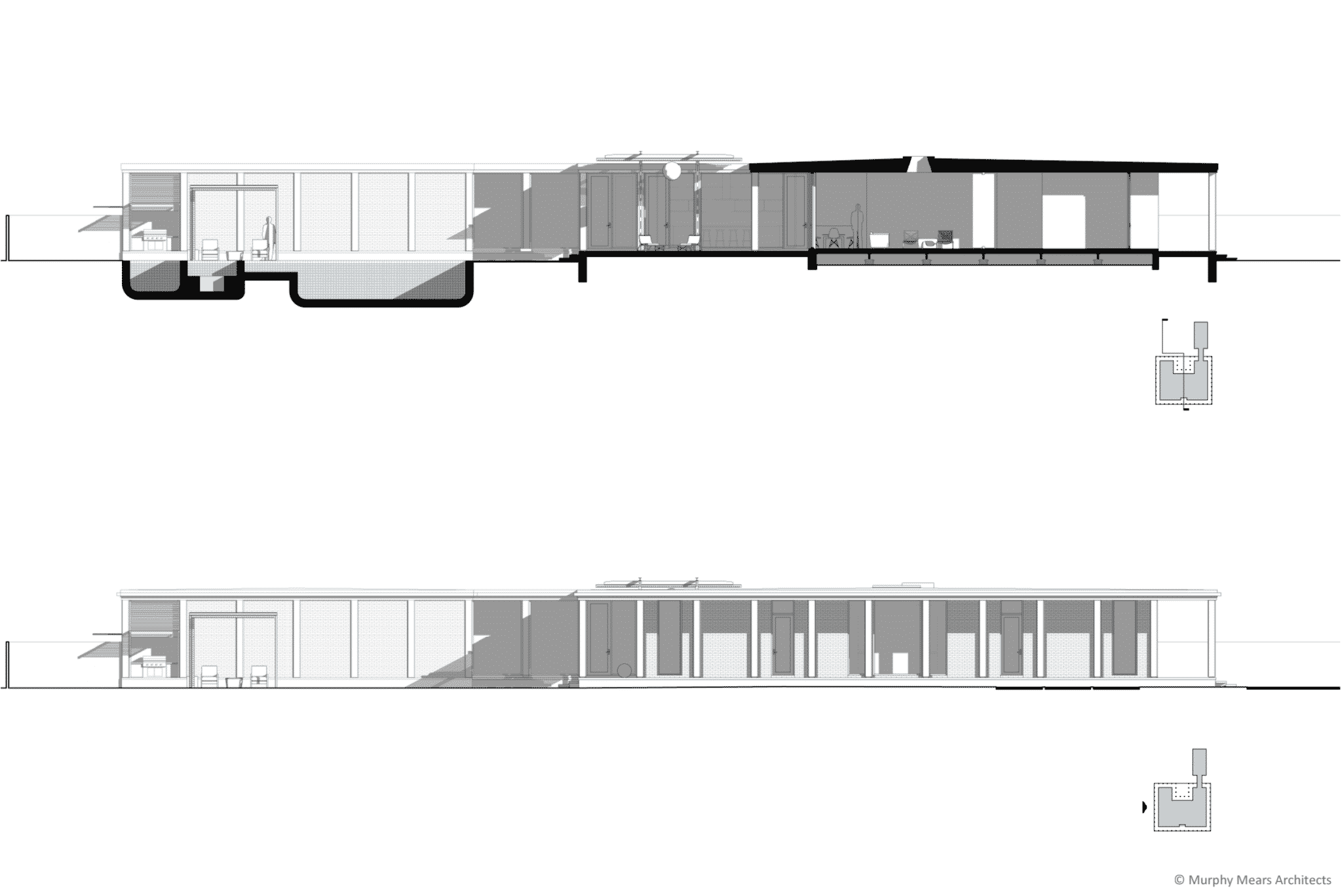 Side elevation, and longitudinal section through the entry, living room, upper terrace and pool terrace.