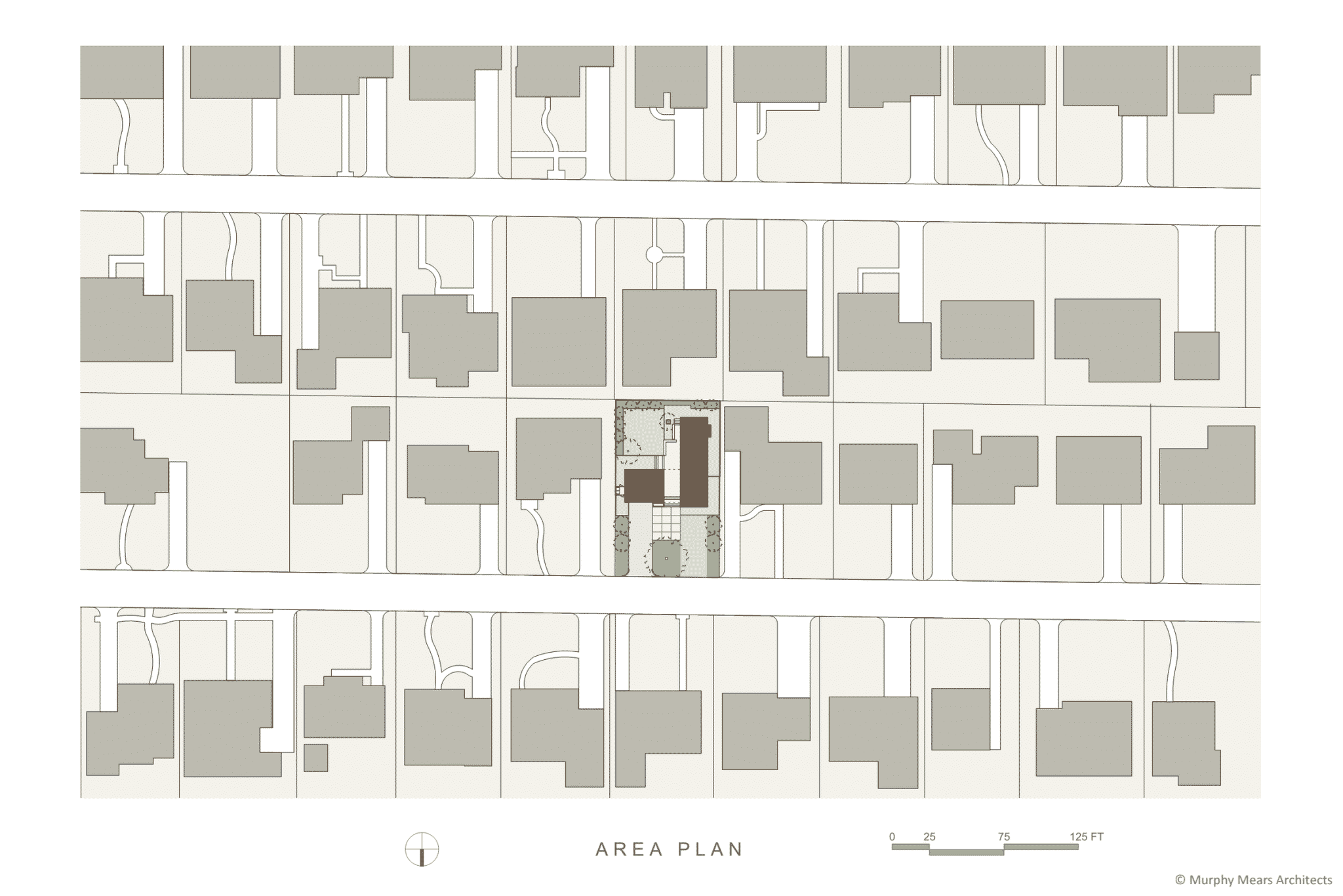 Site plan within the suburban neighborhood context.