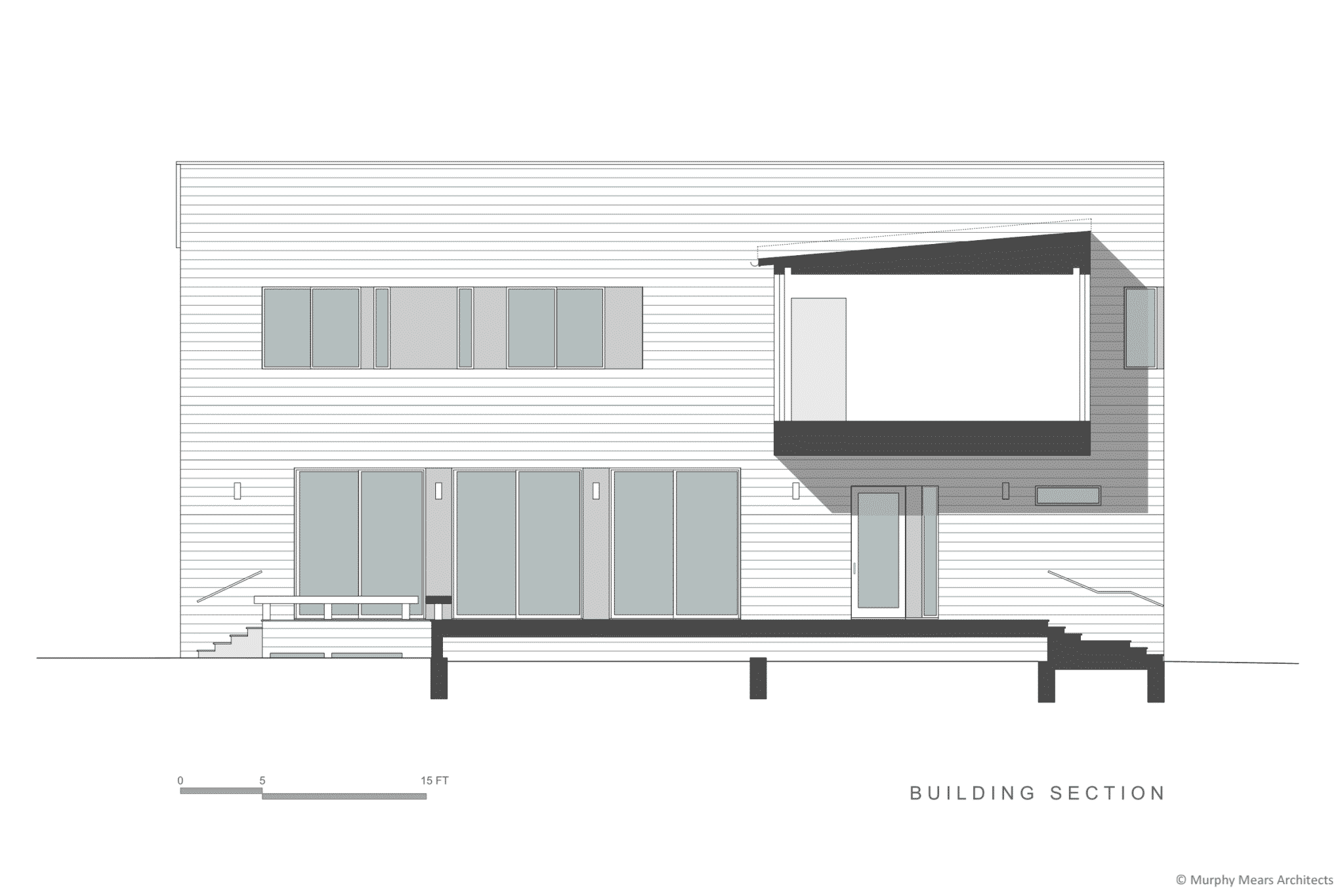Section through the covered entry, raised terrace, and floating master bedroom.