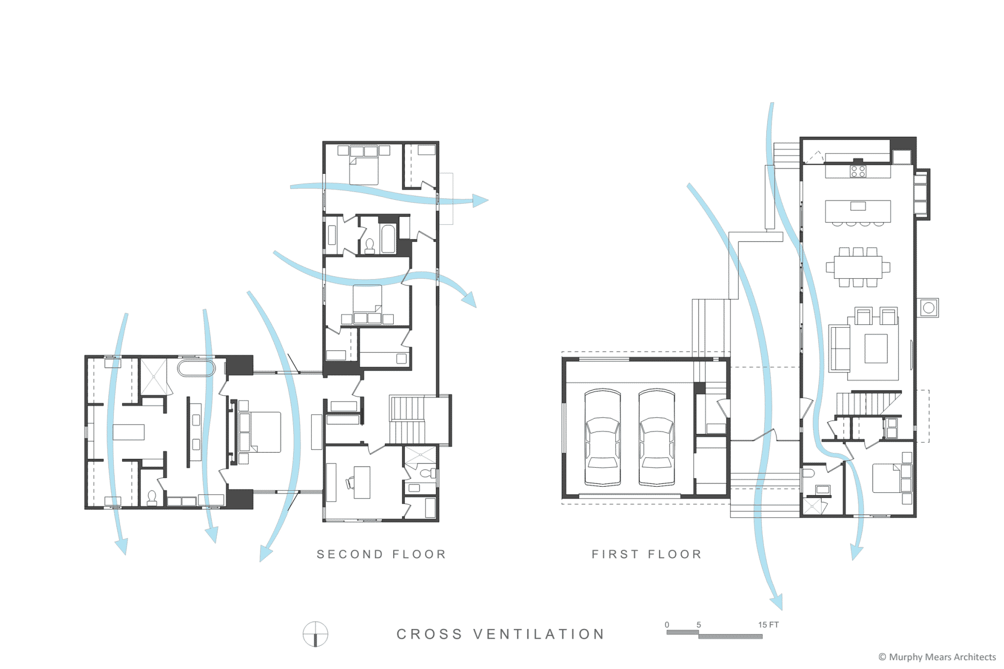 Cross ventilation through first and second floor areas.