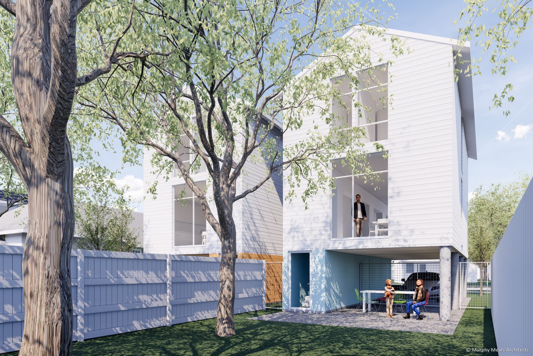 Affordable /Sustainable Housing Competition - City of Houston and AIA - Complete The Community - Backyard Breezeway.