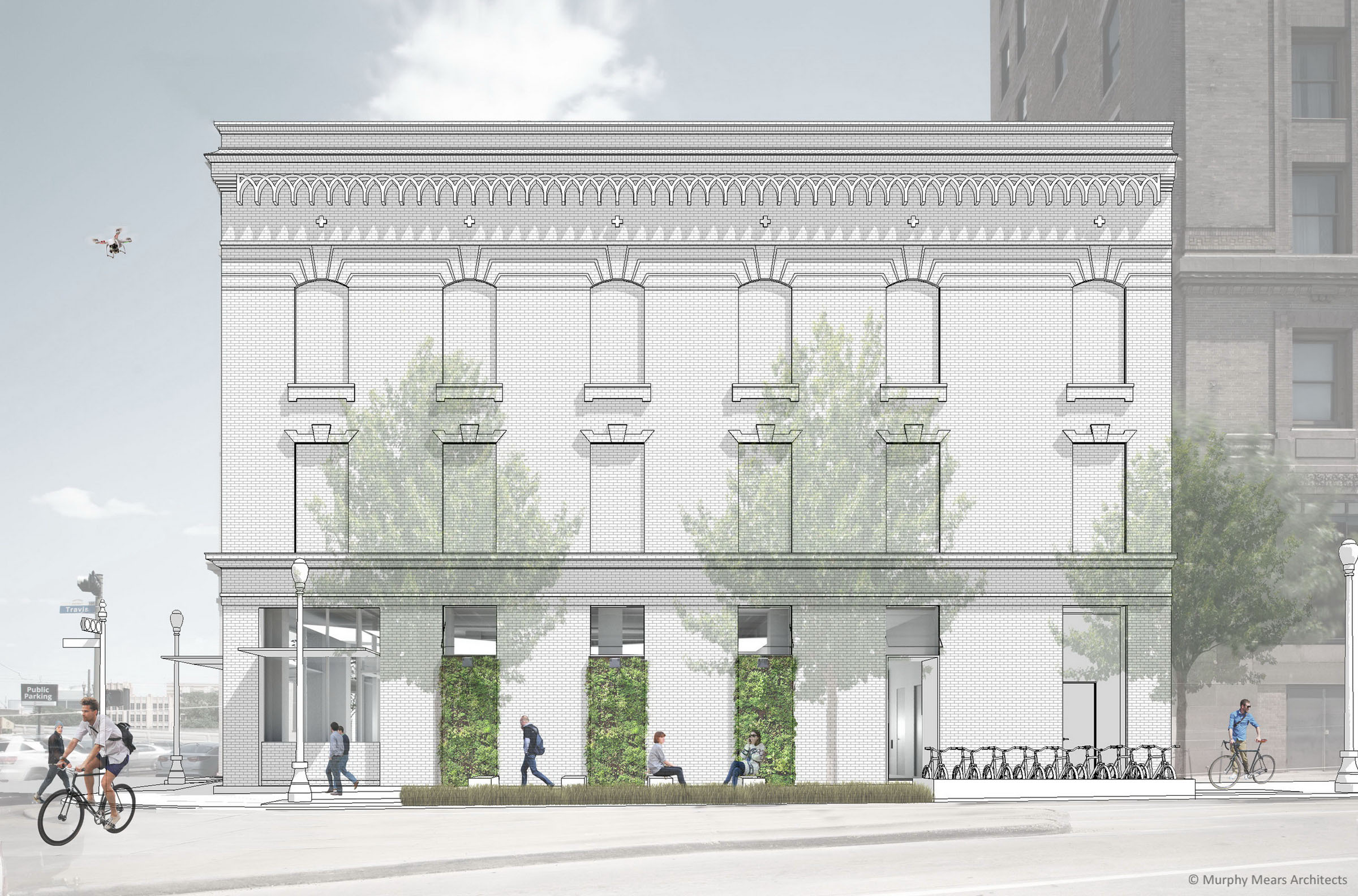 Architecture Center Houston - Competition Entry West Facade Rendering.
