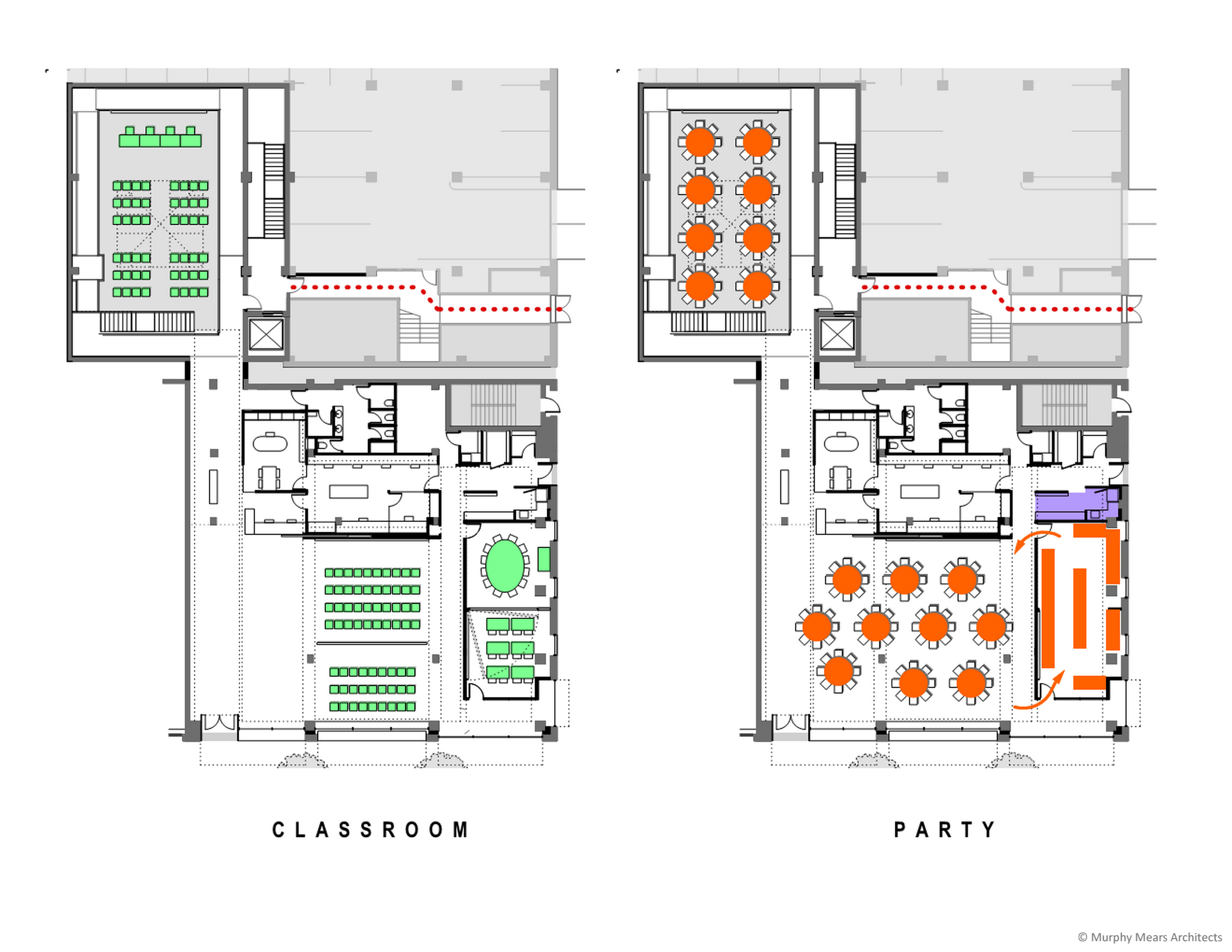Architecture Center Houston - Competition Diagram - Flexible Use ---> Classrooms and Event Space.