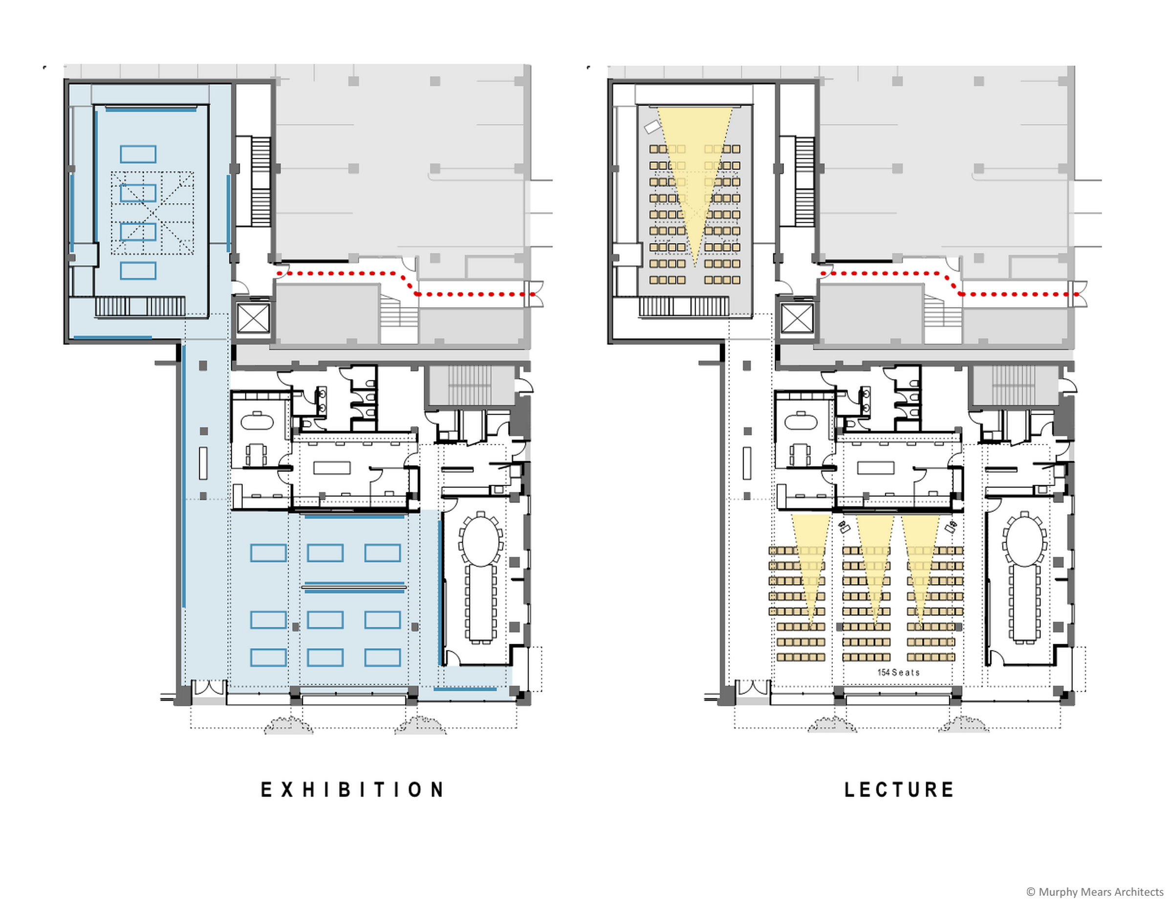 Architecture Center Houston - Competition Diagram - Flexible Use ---> Exhibitions and Presentations.