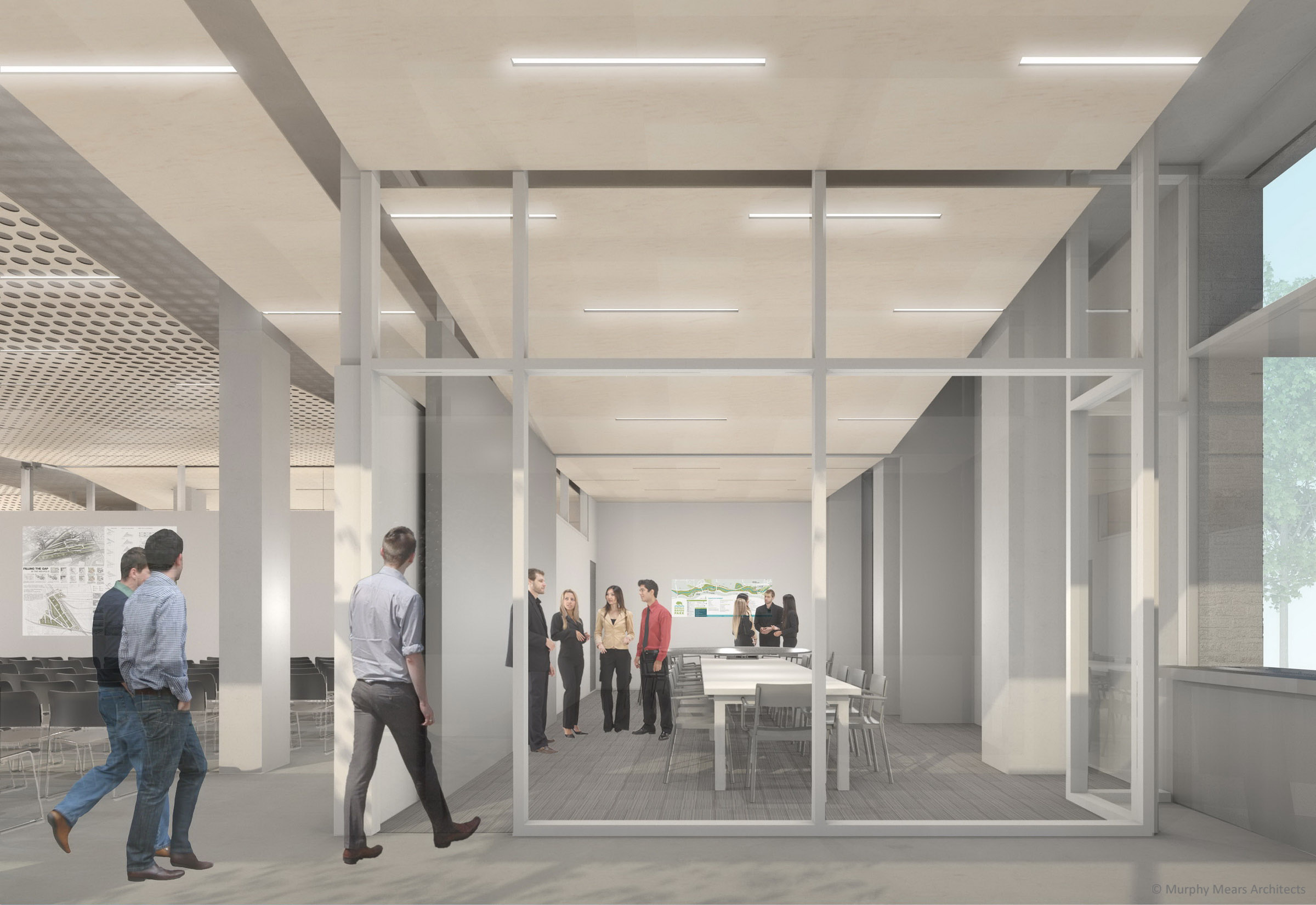 Architecture Center Houston - Competition Rendering - Operable partition open to form one large conference room.