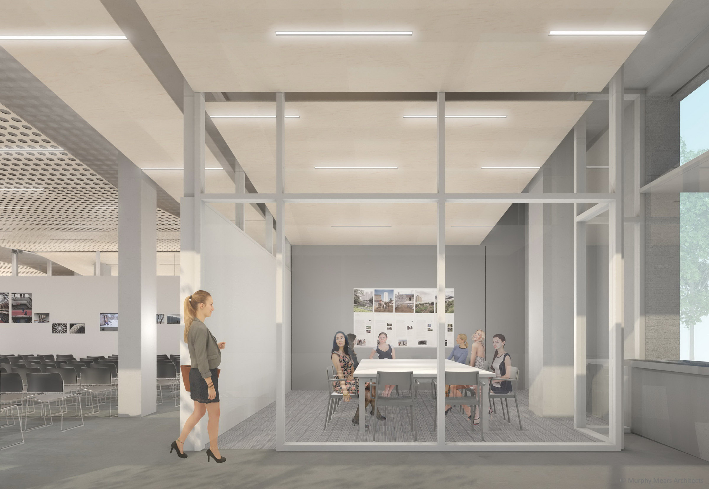 Architecture Center Houston - Competition Rendering - Operable partition closed to form two medium sized conference rooms.