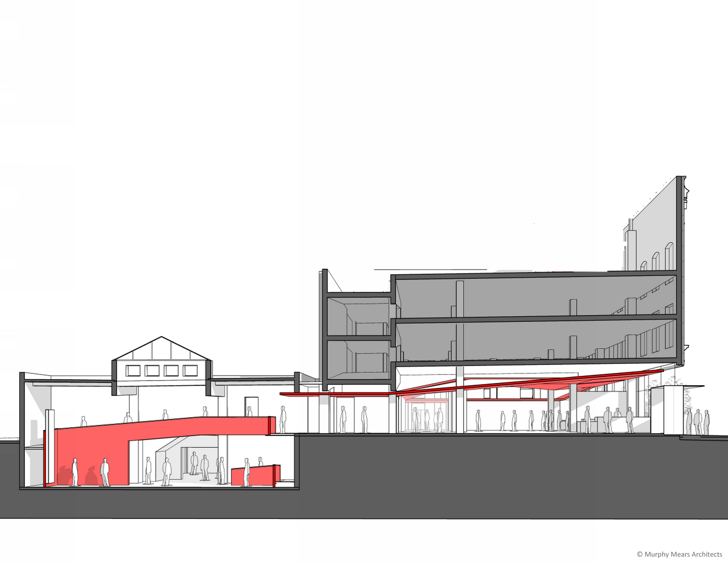 Architecture Center Houston - Competition Drawing - Overall Building Section through street-front Phase I and Boiler Room Phase II.