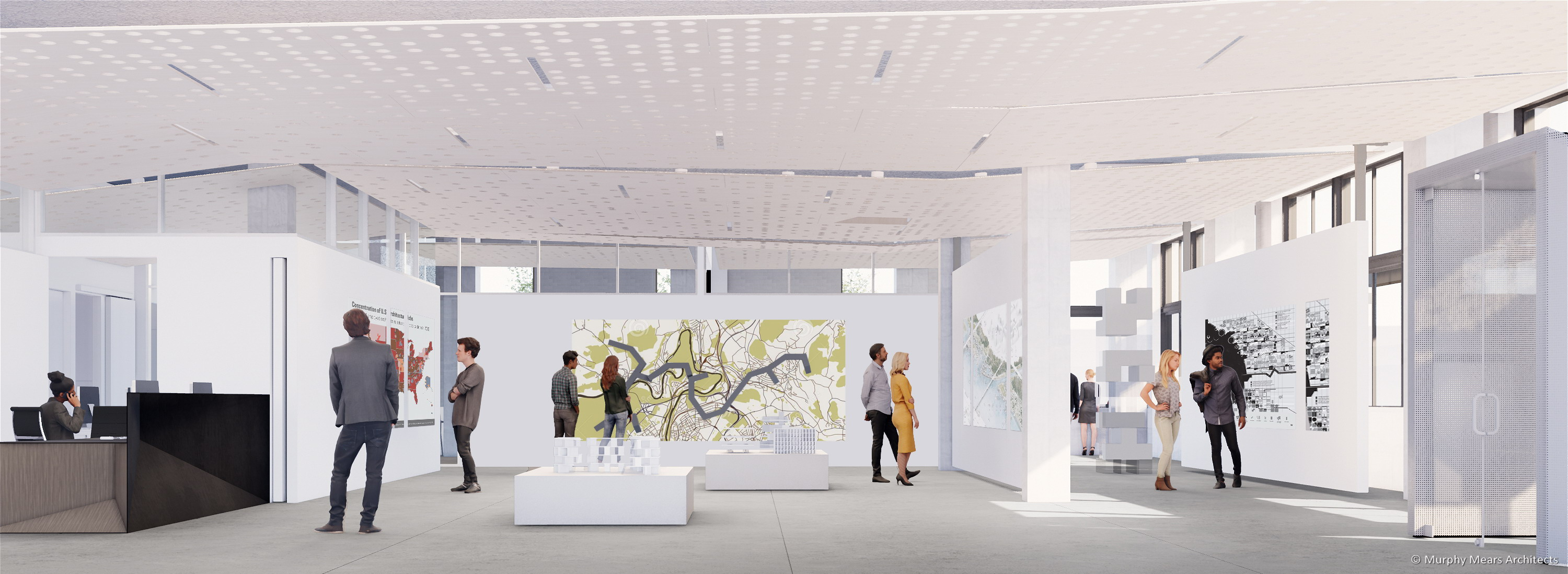 Architecture Center Houston rendering - Street level flexible space with an architectural exhibition.