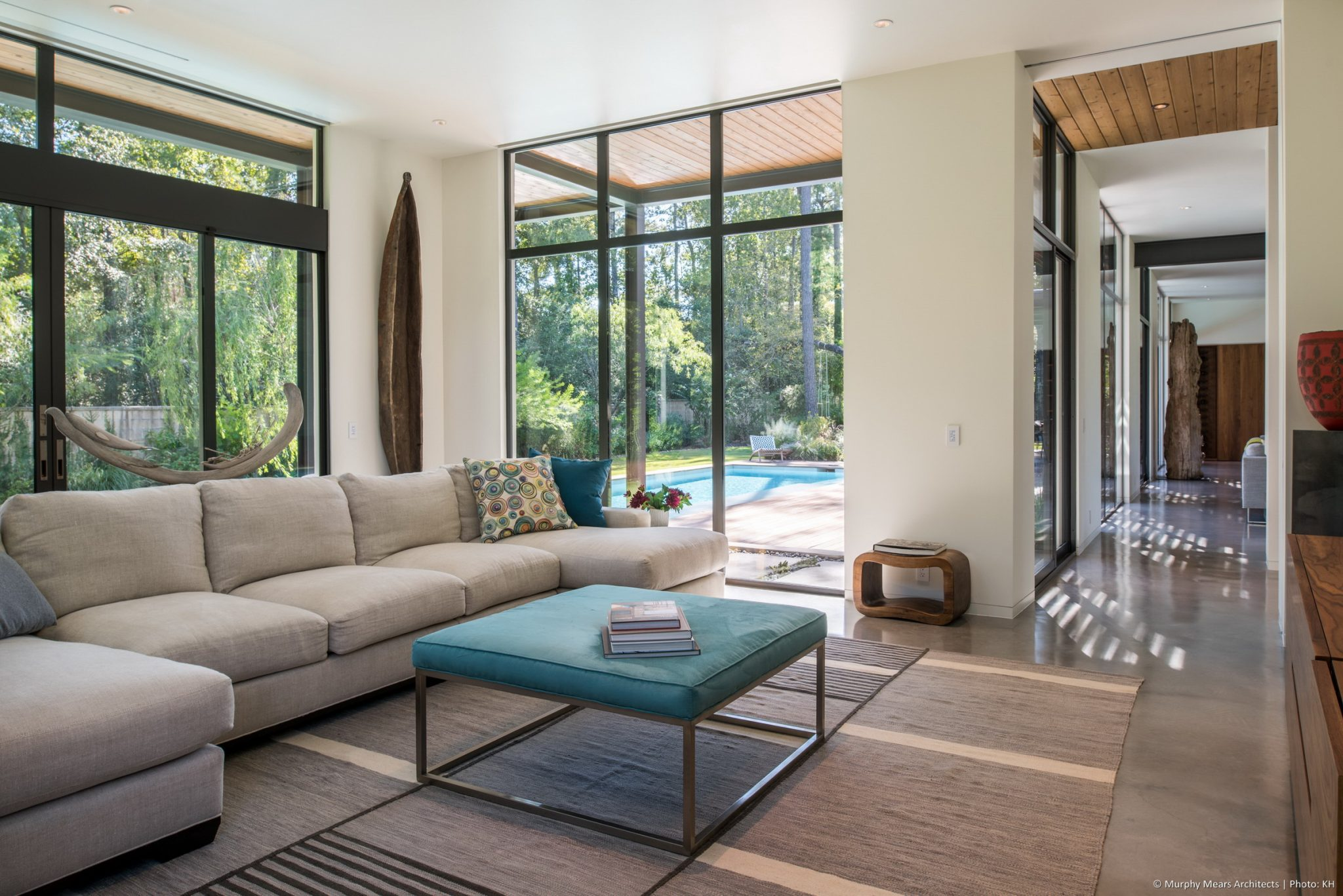 Open House - The family room at the end of the long axis through the interior, projecting into the backyard space.