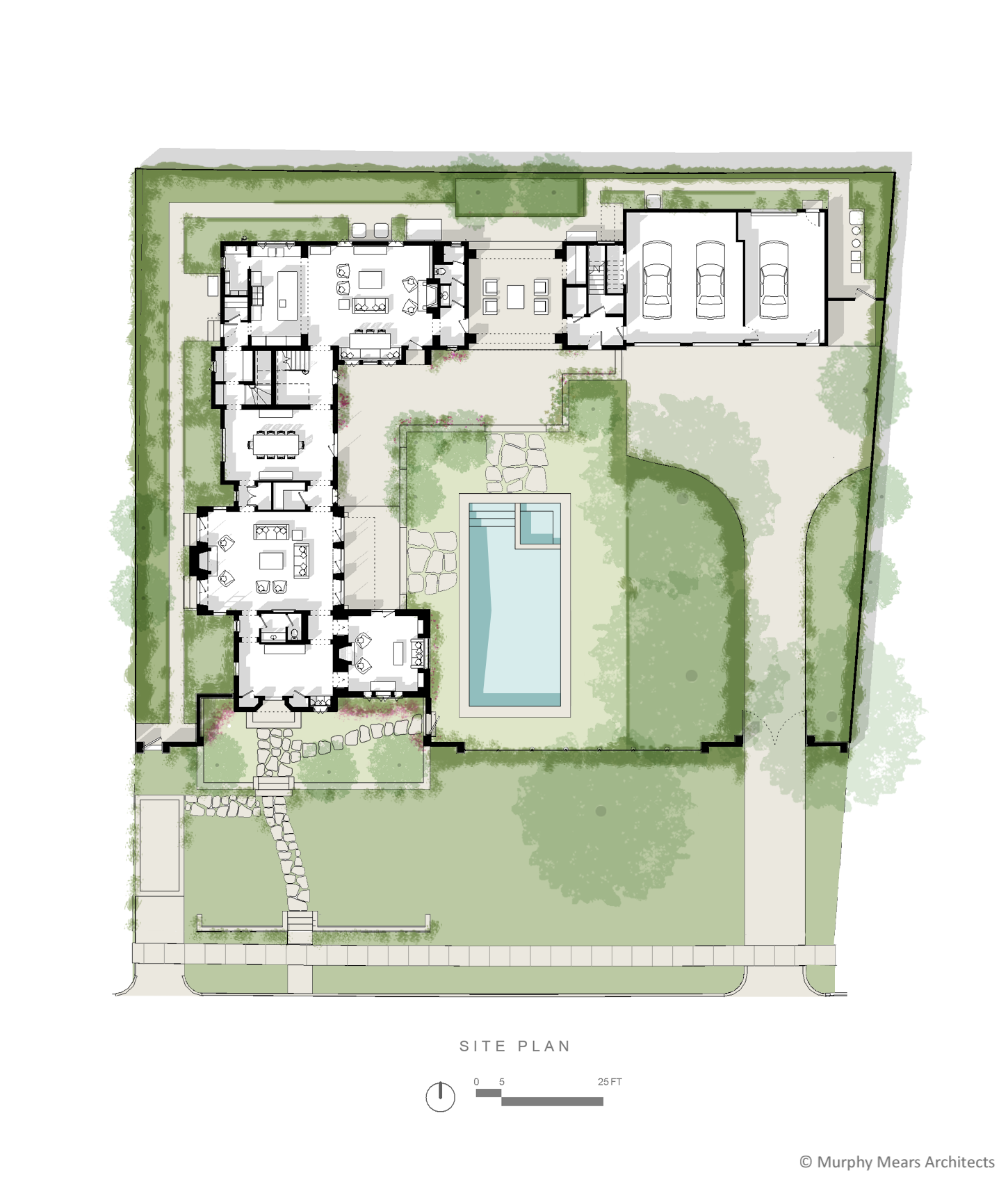 Courtyard House - Site Plan showing the public entry and private drive separated on opposite sides of the site by a central outdoor space.