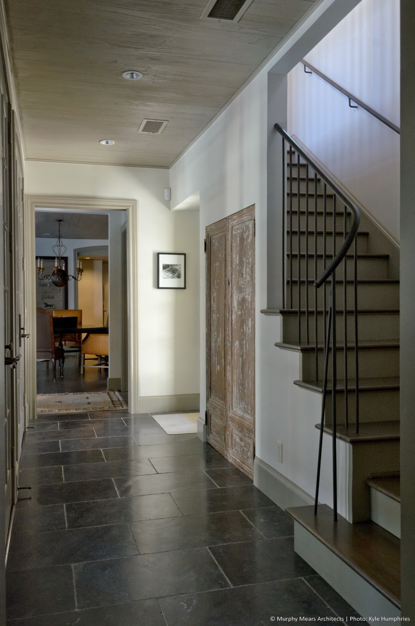 Pemberton Residence - New back hallway with stair leading to master suite above.