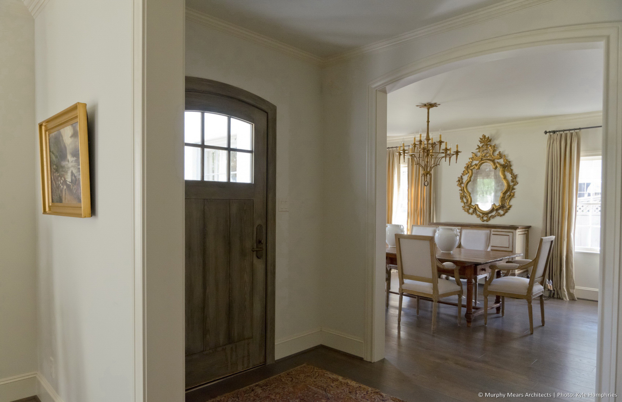 Pemberton Residence - Renovated front entry hall with dining room beyond.