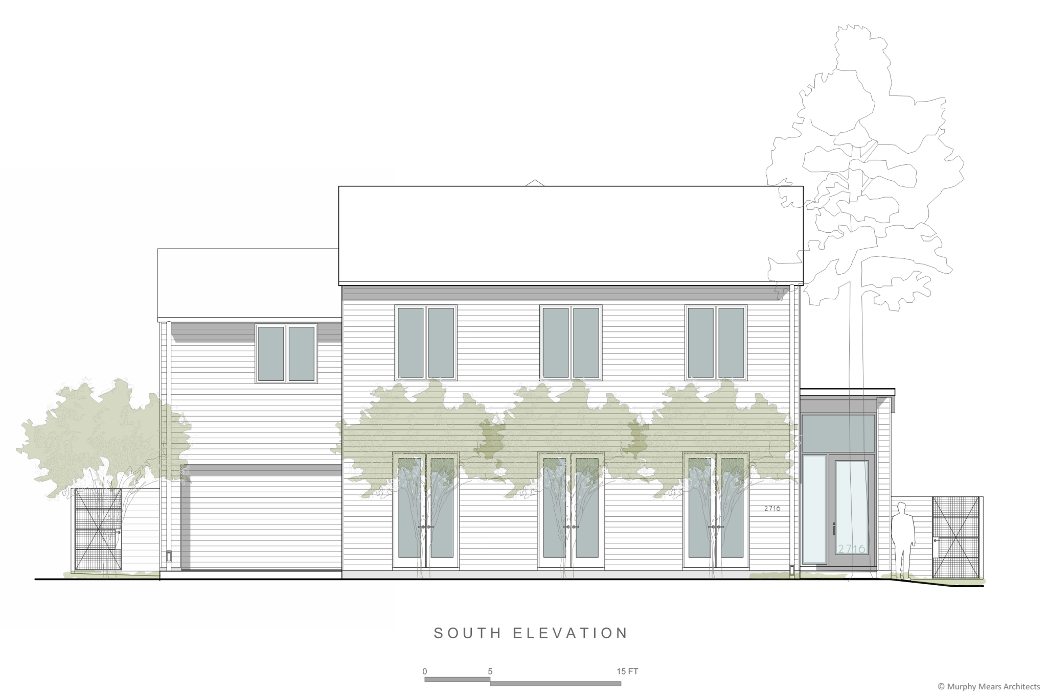 front elevation with windows stacked over doors aligned with trees in front courtyard