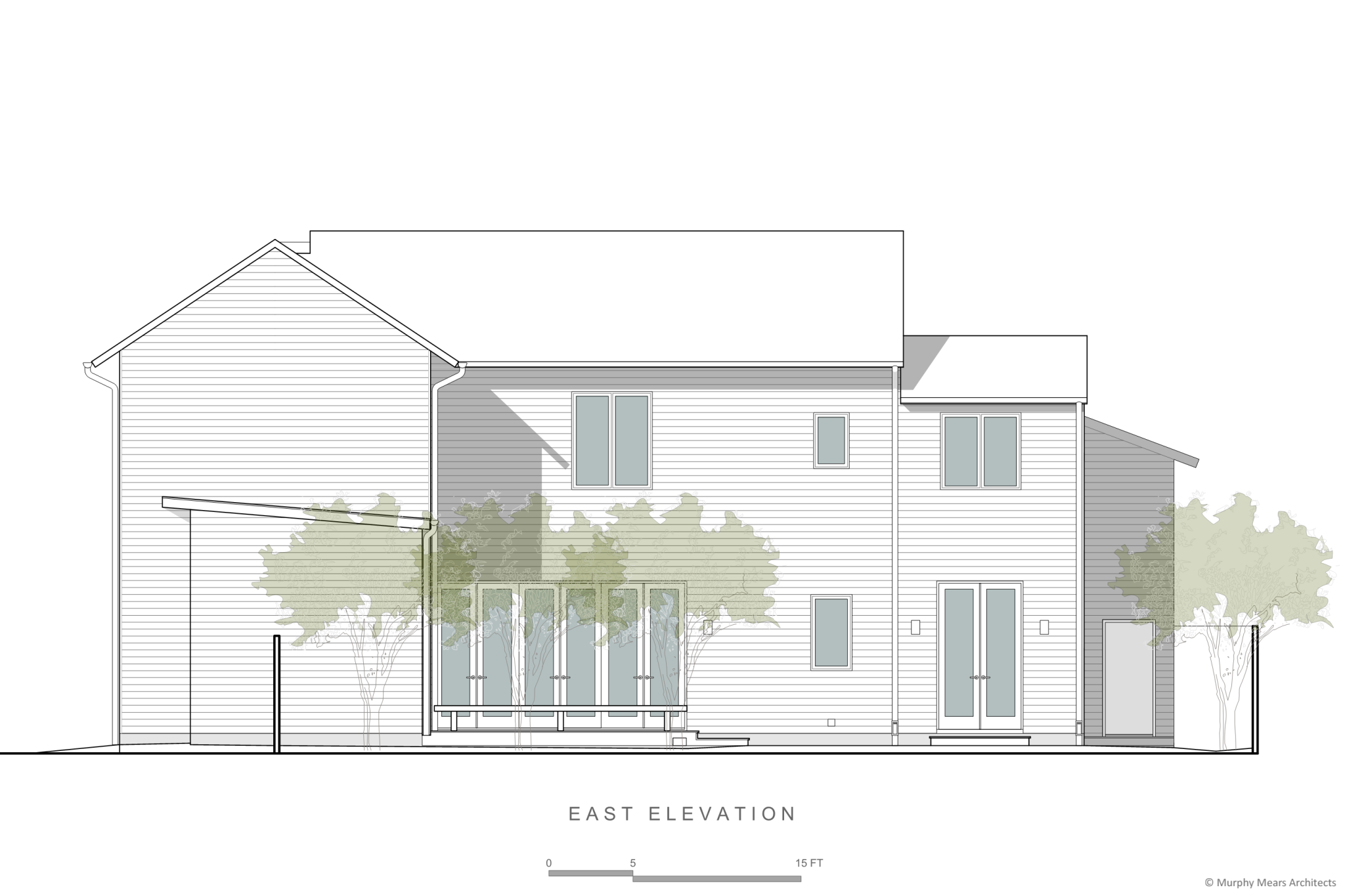 side elevation with windows and doors overlooking back yard below
