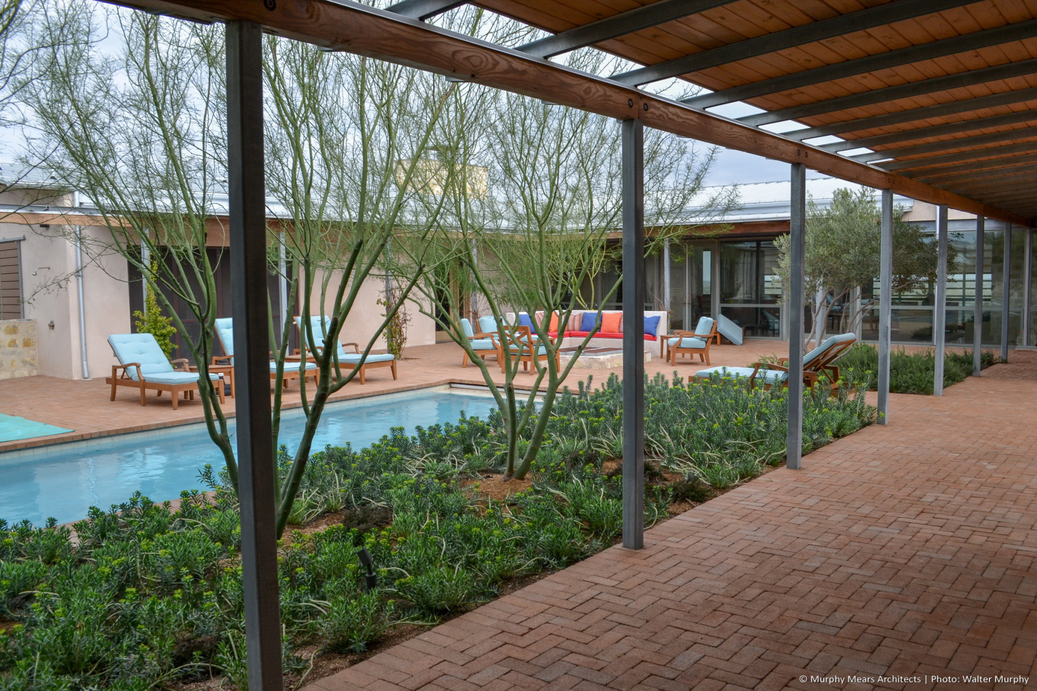 pool in brick paver courtyard with desert landscaping surrounded by galvanized steel and wood covered walkway