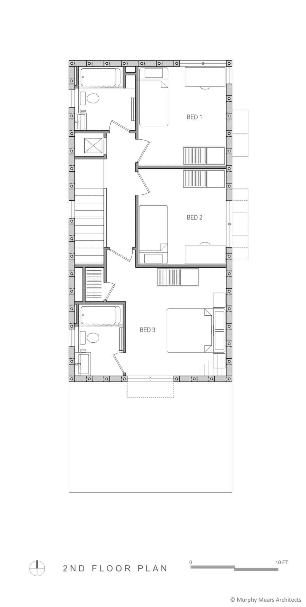 Second floor bedrooms separated by affordable wood partitions within the AAC block structure.