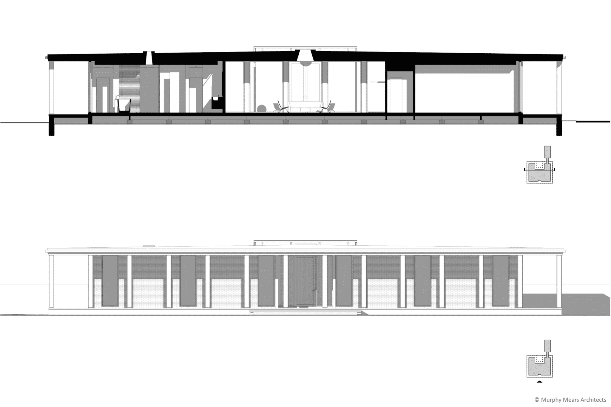 Front elevation, and cross-section through the master bath, living room and secondary bedroom.