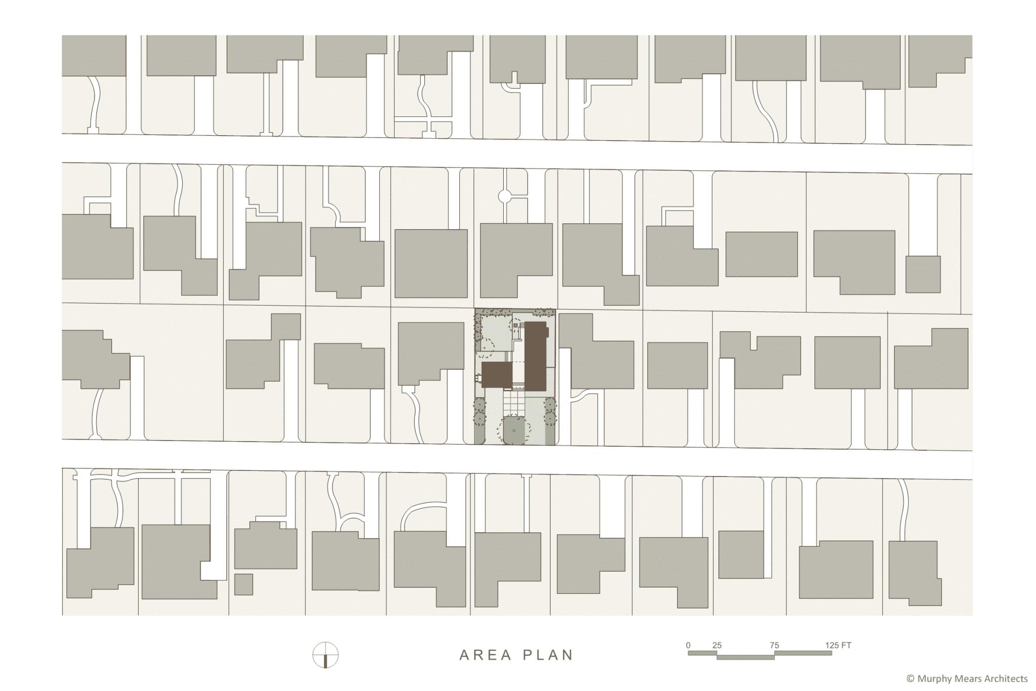 Site plan within the suburban neighborhood context.