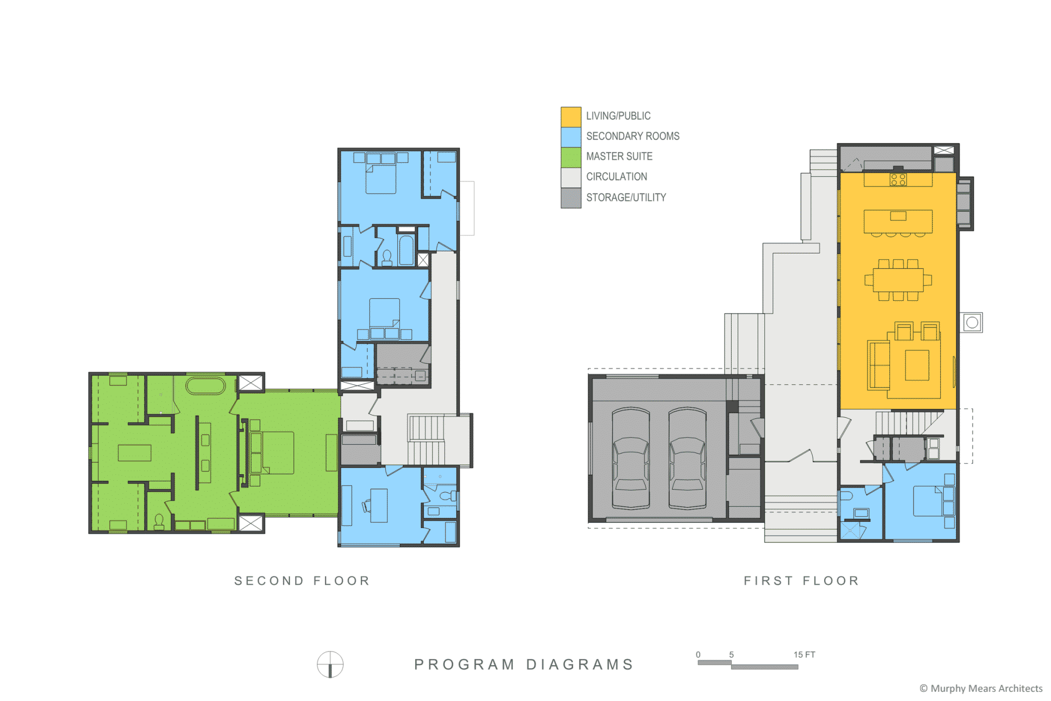 First and second floor plan diagrams.