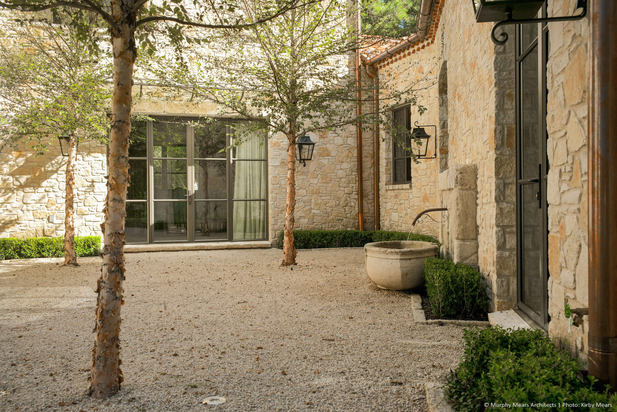 Interior gavel courtyard shaded by single trunk river birch trees.