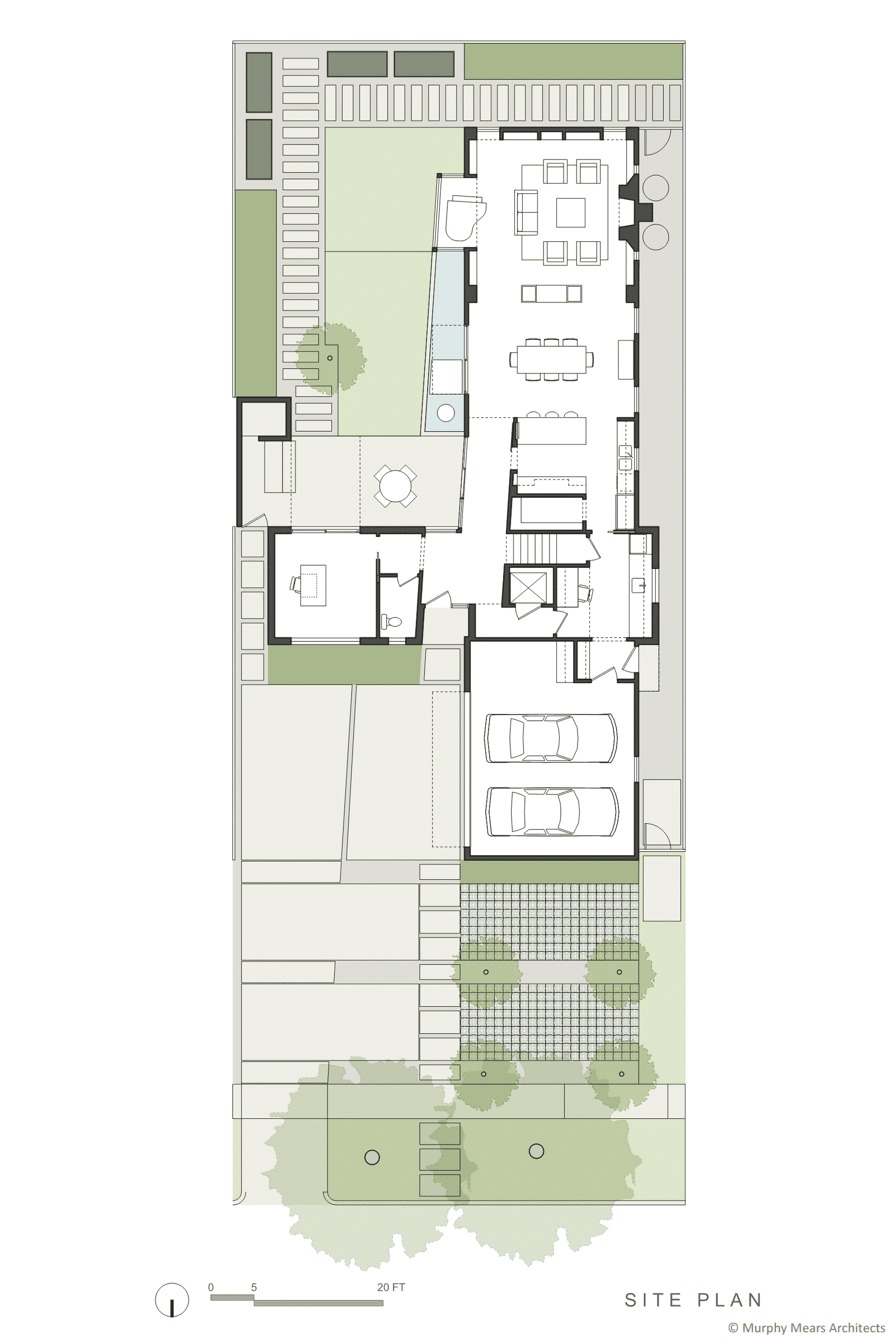 Site plan with common axis through center of site.