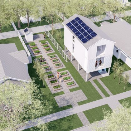 Affordable / Sustainable Housing Competition - City of Houston and AIA - Complete The Community - Single Unit with Community Garden - Aerial View.