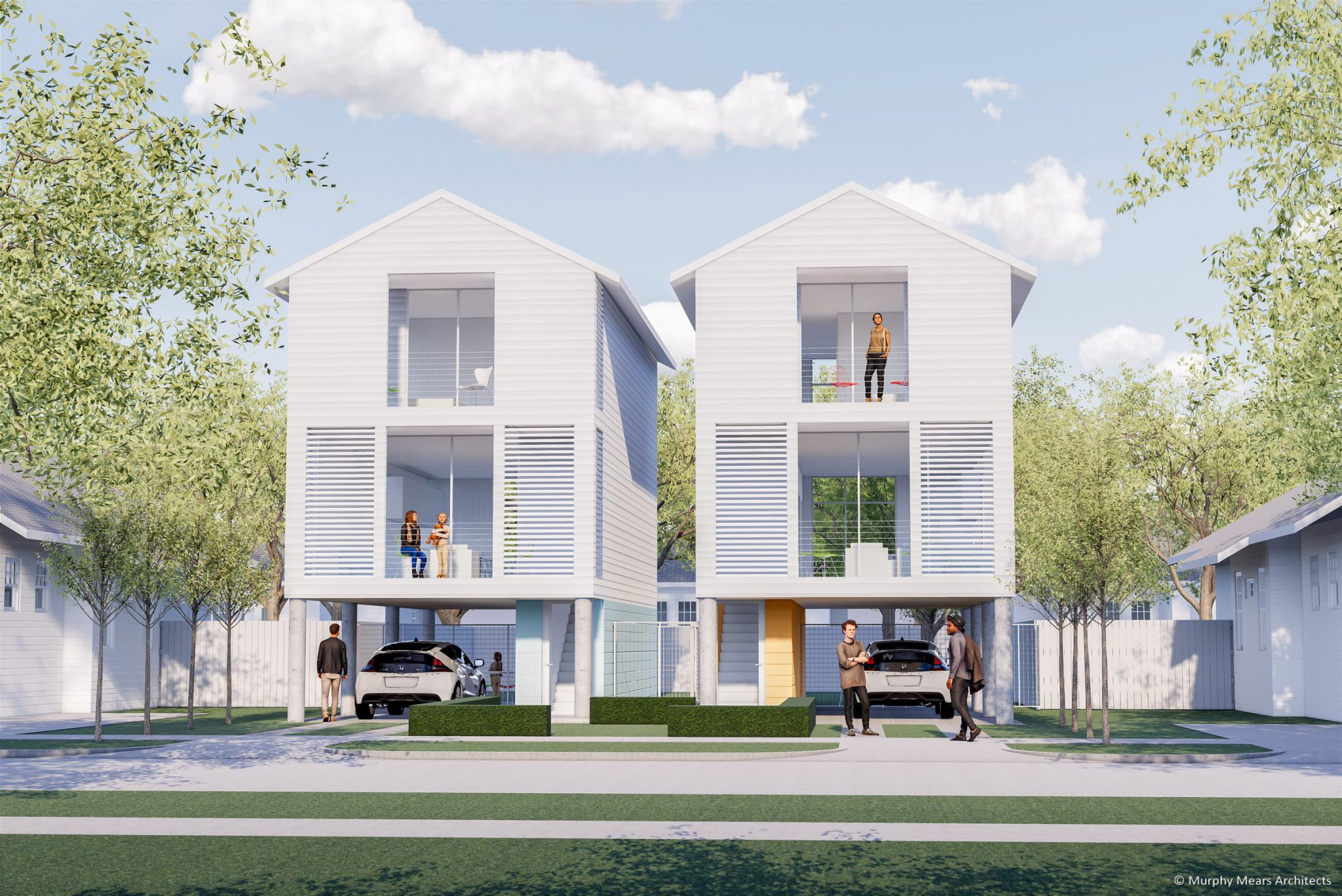 Affordable / Sustainable Housing Competition - City of Houston and AIA - Complete The Community - Two Units on One Lot.