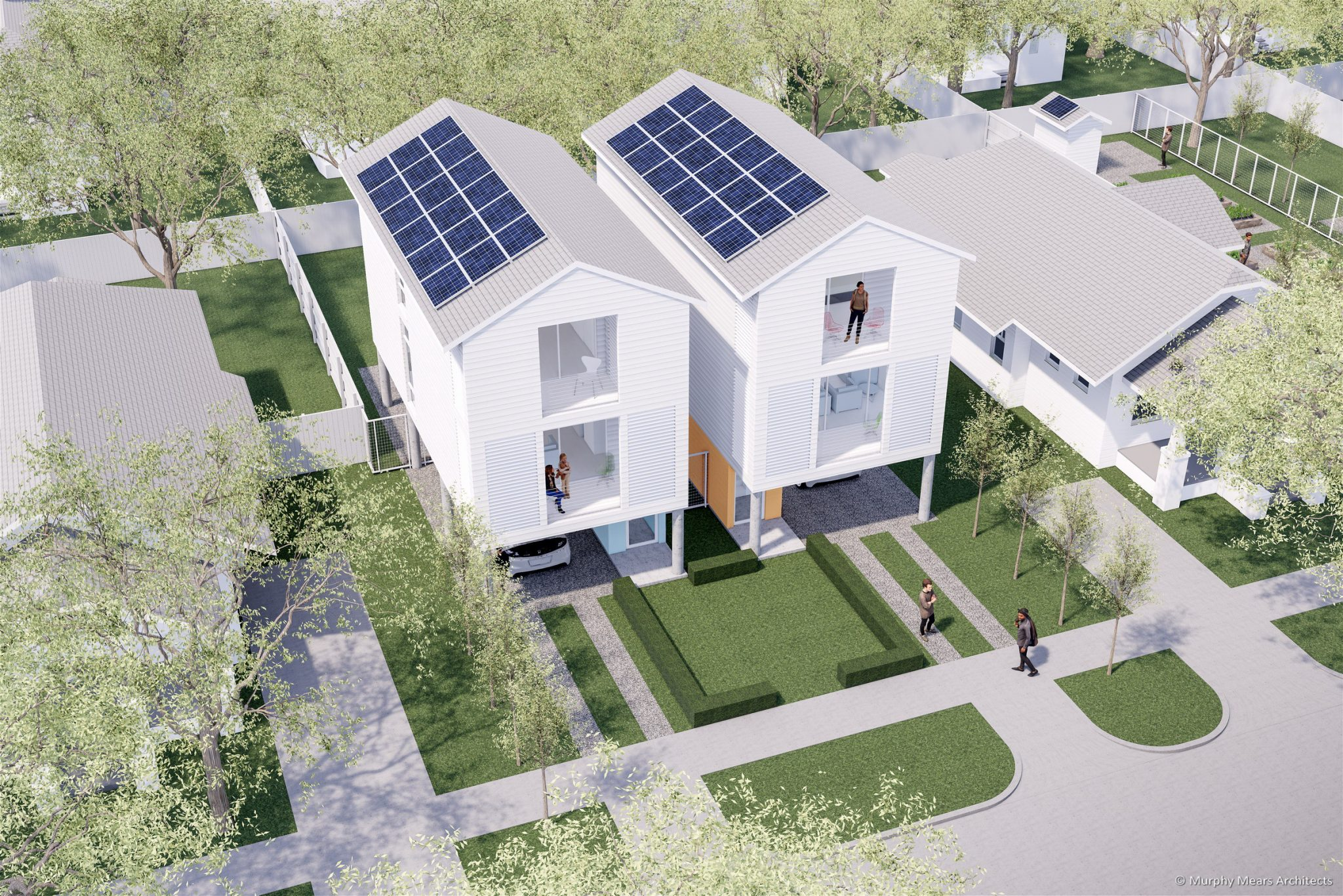 Affordable / Sustainable Housing Competition - City of Houston and AIA - Complete The Community - Two Units with roofs pitched for Solar Panels.