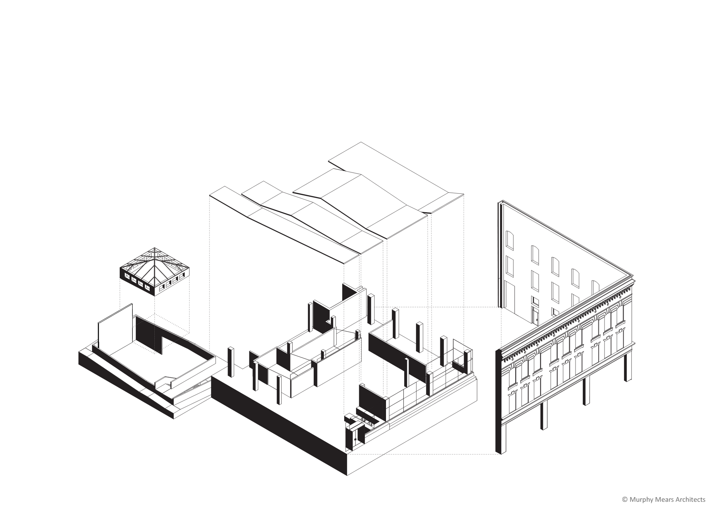 Architecture Center Houston - Competition Drawing - Axonometric Concept Diagram - Facade, Street-Front Space and Boiler Room.