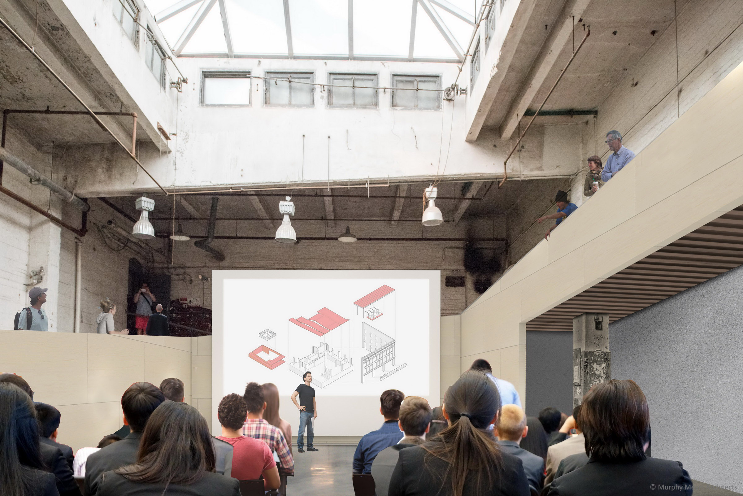 Architecture Center Houston - Competition Rendering - Lecture event on the lower level of the Boiler Room.