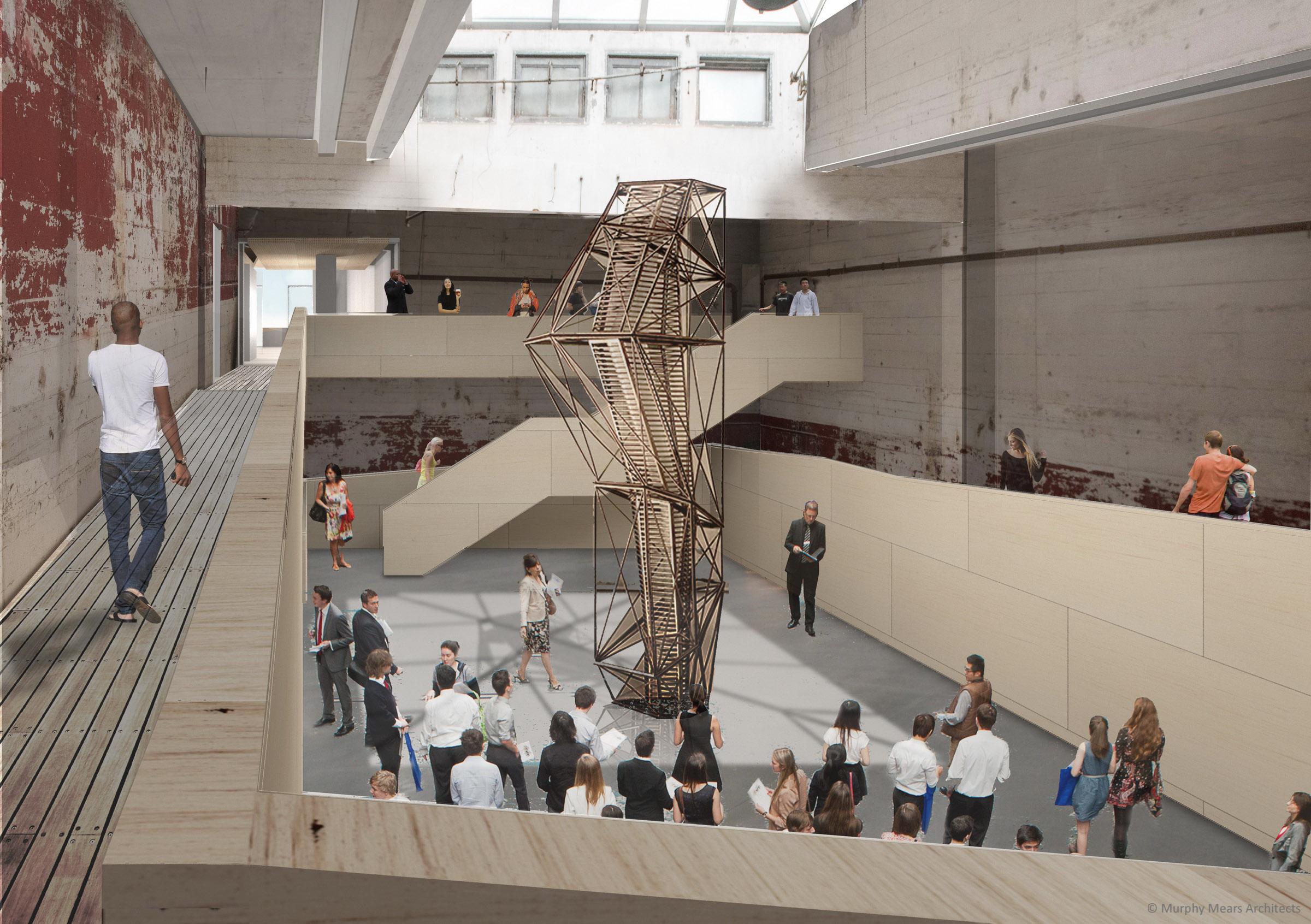 Architecture Center Houston - Competition Rendering - Ramp descending into Boiler Room.