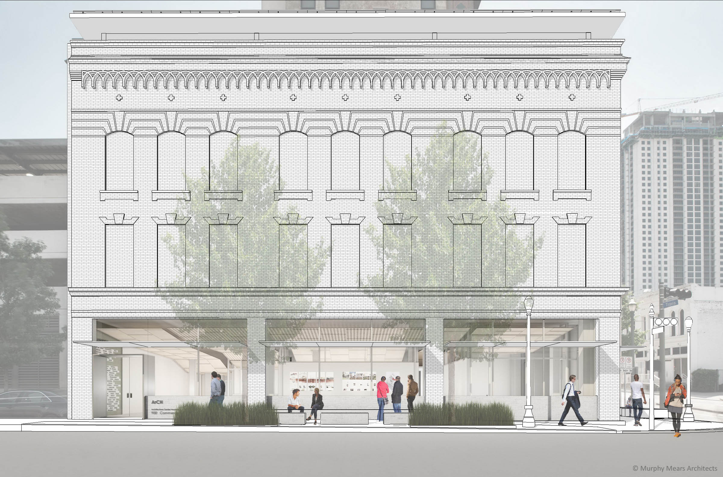 Architecture Center Houston - Competition Entry North Facade Rendering.