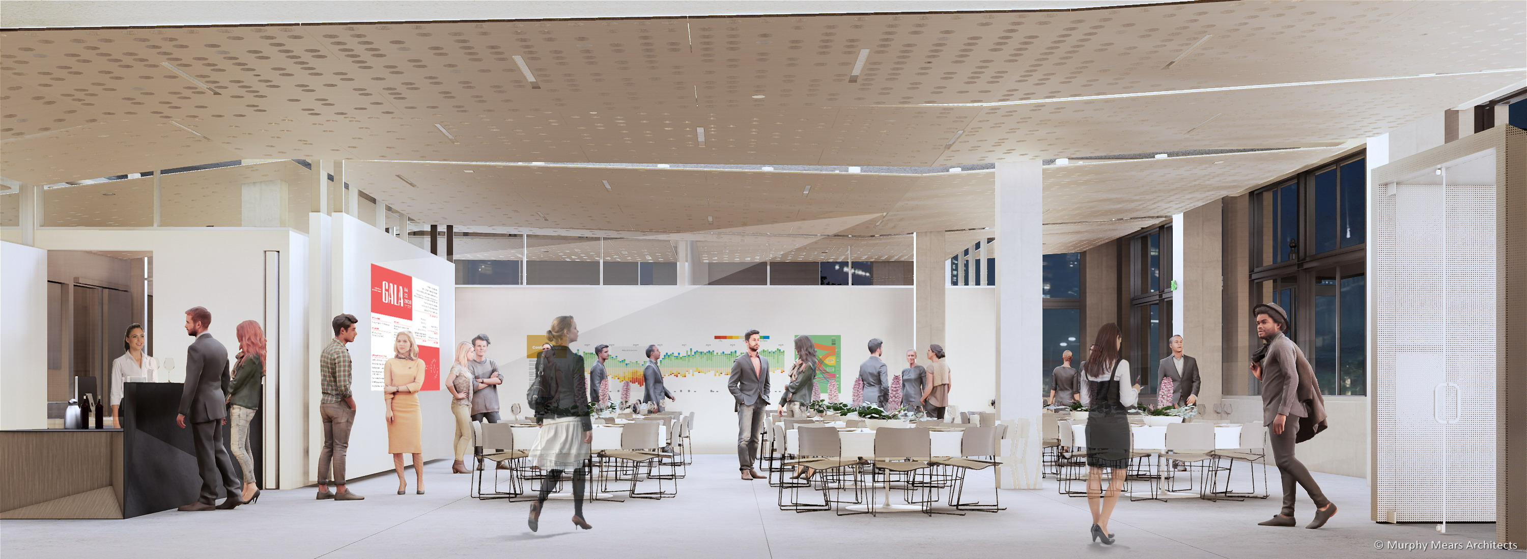 Architecture Center Houston rendering - Street level flexible space with an evening event.