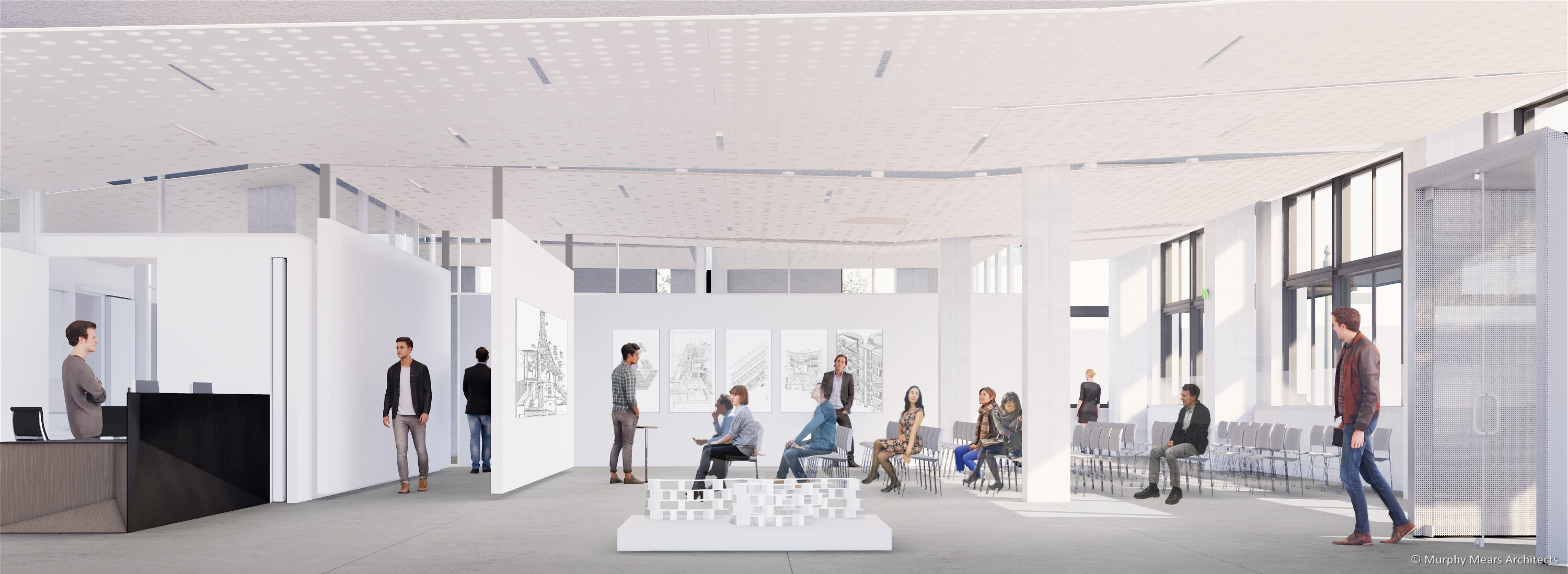 Architecture Center Houston rendering - Street level flexible space with a daytime classroom session.
