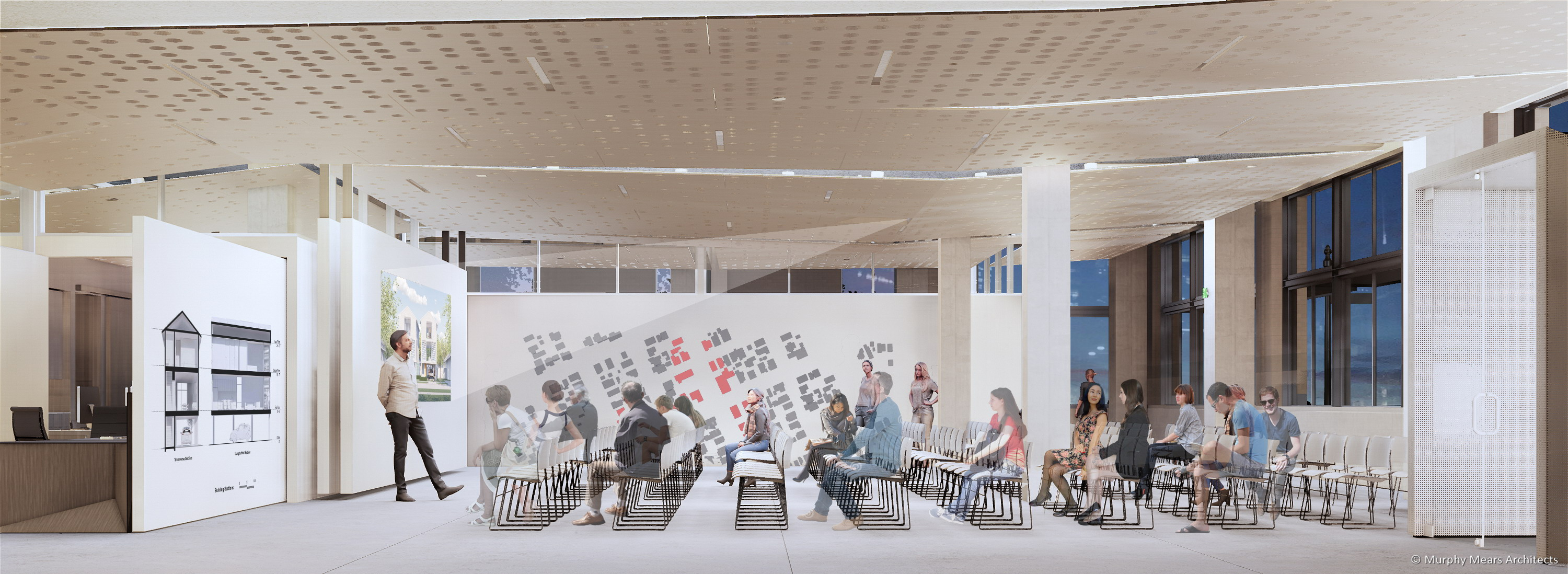 Architecture Center Houston rendering - Street level flexible space with a large lecture event.